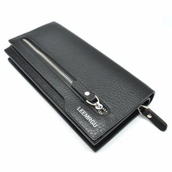 LEEMRGU Dompet Genggam Kulit Zipper Panjang Elegan Simpel Design - Hitam