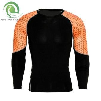 Lengan panjang bernapas cepat kering pelatihan kebugaran pakaian ketat pakaian (Oranye lingkaran)