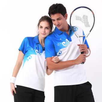 Lengan pendek celana pendek cepat kering tenis meja pakaian tenis bulu tangkis pakaian (Biru)