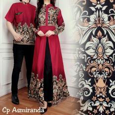 LF Batik Wanita Couple Resa / Kemeja Cowok pria Gamis Muslim / Kebaya Dress Wanita Batik Pasangan/ Set Muslim (mirandaas) AK - Maroon D2C
