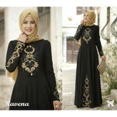 LF Dress Gamis Terusan Maxi Ravina / Syari Syar'i Simple Elegant / Baju Muslim Wanita / Kebaya Muslimah Modern (venara) SS - Hitam D2C