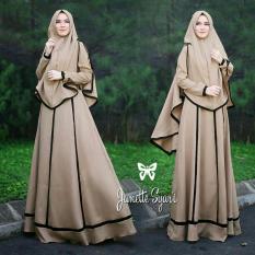 LF Set Muslim Imelda / Gamis Syari Syar'i Fashion Maxi / Syari Simple Elegant / Baju Muslim Wanita (nettaja) SS - Mocca D2C