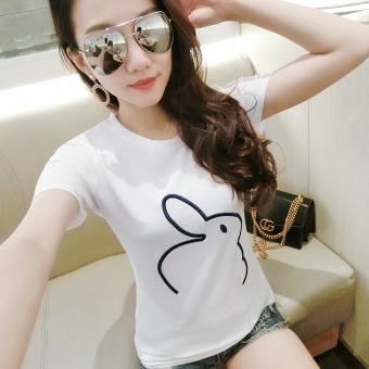Liar kapas perempuan lengan pendek lengan pendek t-shirt t-shirt (Putih kelinci