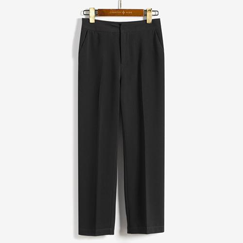 Liar warna solid baru jins lurus celana kasual celana jas (Hitam)