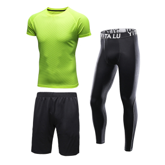 Beli Lima Celana Kasual Lengan Pendek Celana Pendek Pria Kebugaran Pakaian Legging Pakaian N71 Neon Hijau Tiga Potong Online Kalynopjerrod