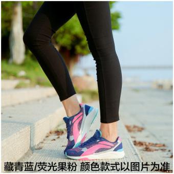LINING Kulit Musim Dingin Baru Peredam Guncangan Kulit Suede Kasual Sepatu Sepatu Running (Neon merah muda hijau/putih)