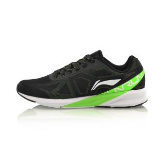 LINING musim gugur baru ringan bernapas kebugaran olahraga sepatu sepatu pria (Hitam/neon hijau/putih)