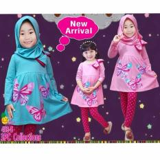 Little pineapple Setelan Kaos Hijab Legging Butterfly Anak 3-7Y