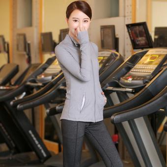 Lixingyangguang luar ruangan tipis yoga pakaian yoga pakaian Workout pakaian yoga baru (Abu-abu terang + 17106 rami hitam)