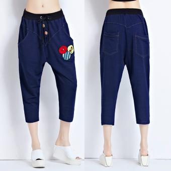 Harga Penawaran Longgar Korea Fashion Style Denim Musim Semi Dan Musim Panas Tipis Celana Harem Celana