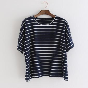 Longgar Korea Fashion Style katun mahasiswa kemeja bottoming tipis bergaris horisontal t-shirt (Biru