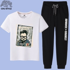 Longgar Korea Fashion Style Laki-laki Lengan Pendek Siswa Leher Bulat T-shirt T
