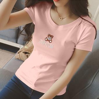Longgar Korea Fashion Style Leher Bulat Lengan Pendek Bottoming Kemeja Slim Lengan Pendek T-shirt