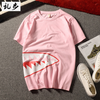 Indonesia | eShop Checker Longgar Korea Fashion Style merah muda baru VISHARK t-shirt (