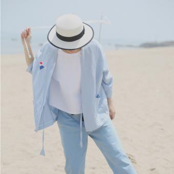 Longgar Korea Fashion Style Musim Semi Dan Musim Panas Tipis Kimono Bagian Tipis Jas (Hitam