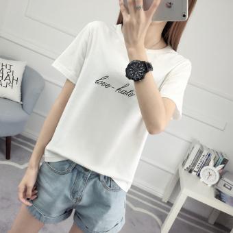 Longgar Korea Fashion Style putih mahasiswa lengan pendek t-shirt (502-Putih )