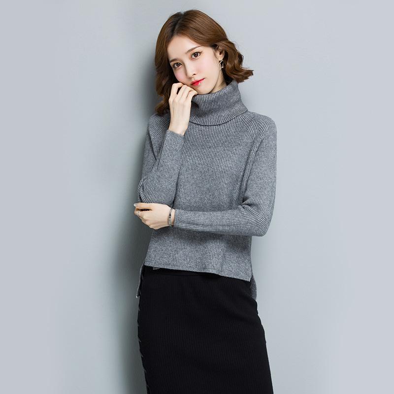 Longgar Korea Fashion Style Rajutan Pullover Baju Dalaman Kerah Tinggi Sweter (Abu)