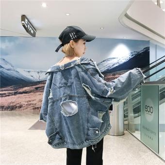 Longgar Korea Fashion Style Siswa Perempuan Angin Bagian Tipis Jaket Angin  Jeket Jeans (Light Blue f8945b27d3