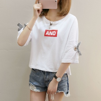 Caidaifei Korean-style spring-summer New style Plus-sized dress. Source · LOOESN versatile short sleeved lettered Cooljie T-shirt (829 (putih))