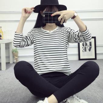 Longgar sederhana baru bergaris lengan panjang kemeja kasual t-shirt (223 ( garis hitam