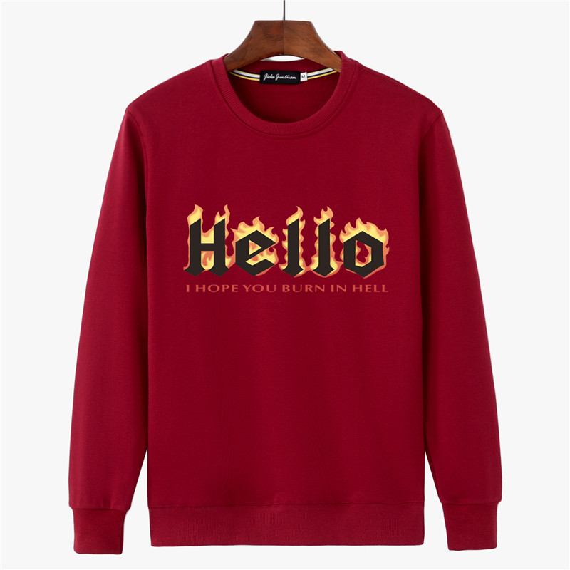 Longgar Tambah Beludru Leher Bulat Pullover Lengan Panjang Kaos Sweater Pakaian Pria Kaos Sweater (Merah