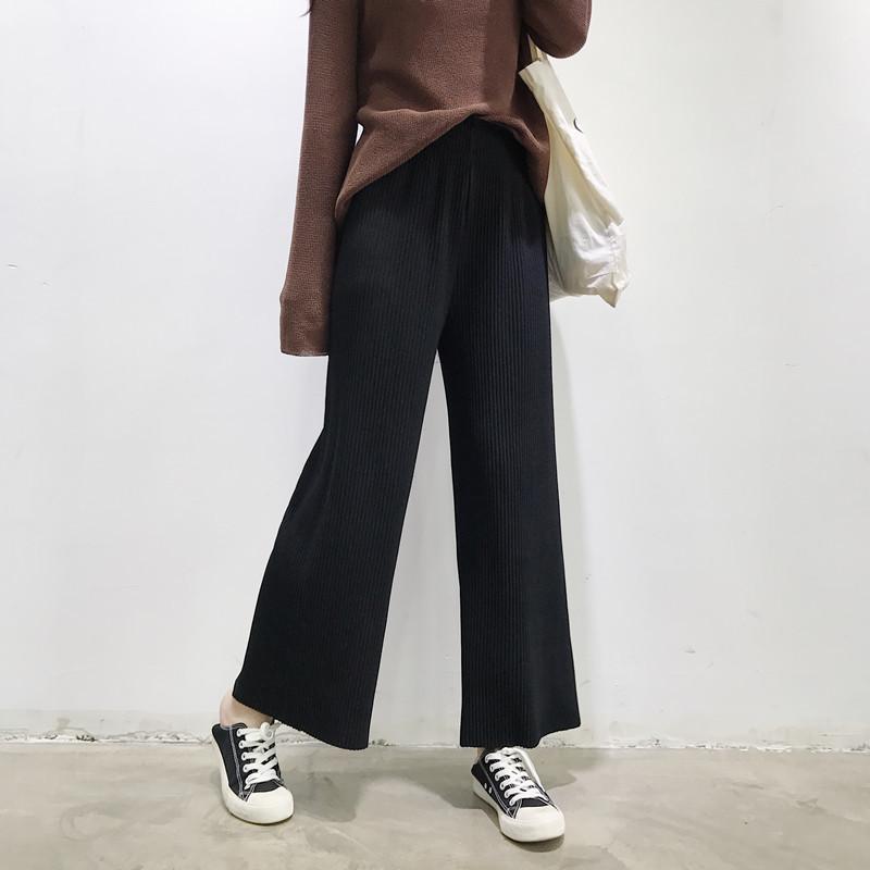 Cheap online Longgar Wol Siswa Lee Jeans Rok Lipit Kulot (Hitam)