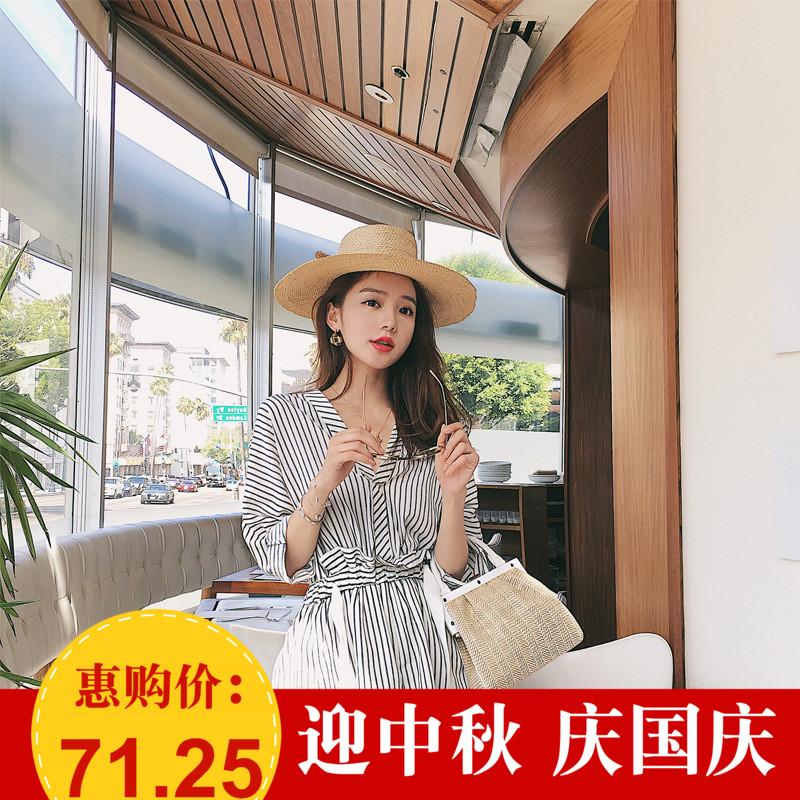 LOOESN Gaya Korea dari perempuan baru v-neck celana pendek bergaris jumpsuit (Gambar warna
