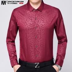 LOOESN jacquard pria bisnis baju kemeja kemeja Ayah (Merah 028)