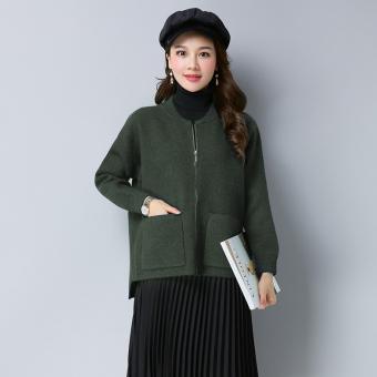 Penawaran Bagus LOOESN Korea Fashion Style baru merajut ritsleting cardigan kecil jas ayat pendek sweater (