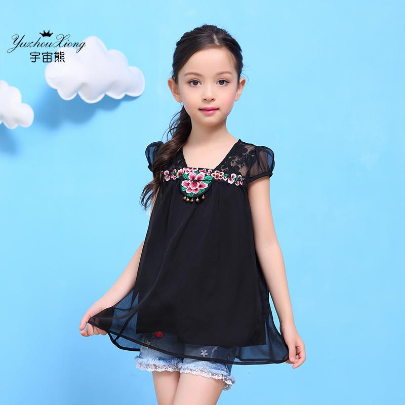 Flash Sale LOOESN Korea Fashion Style lengan pendek musim panas kemeja sifon baru t-shirt (Hitam)