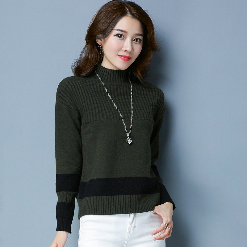 Flash Sale LOOESN Korea Fashion Style merajut pullover perempuan bottoming kemeja mantra warna sweater (Hijau