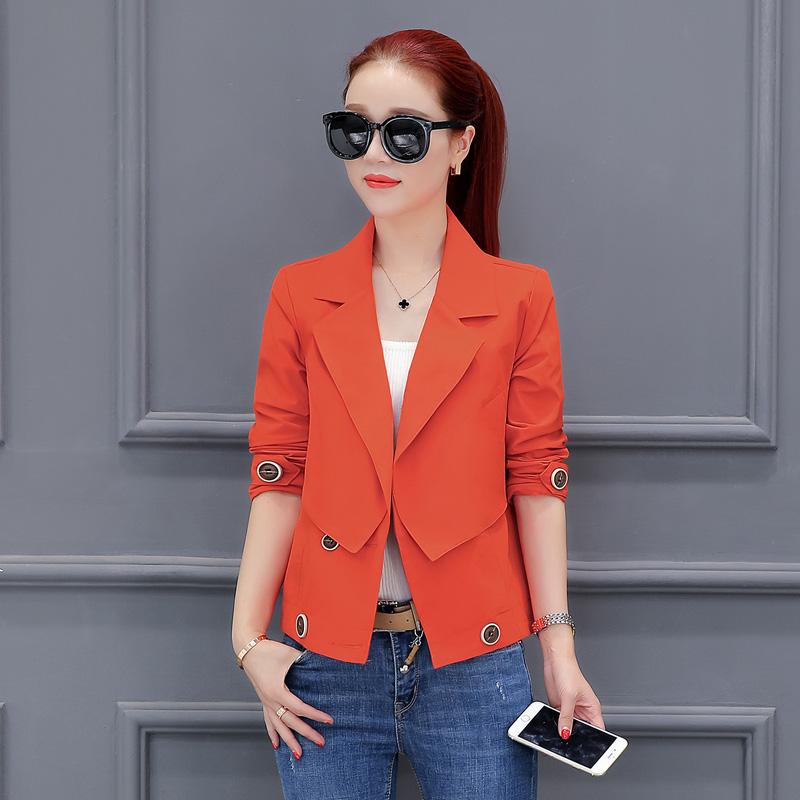 Flash Sale LOOESN Korea Fashion Style musim semi dan musim gugur baru tipis jas ayat pendek kecil jas (Oranye)