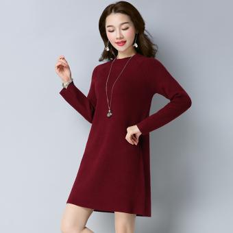 Review of LOOESN Korea Fashion Style warna solid lengan panjang leher bulat bottoming sweater rajutan gaun