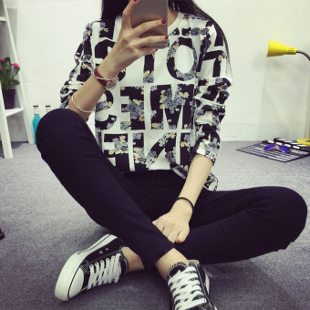 LOOESN Korean-style autumn New style lettered base shirt T-shirt (4011 *