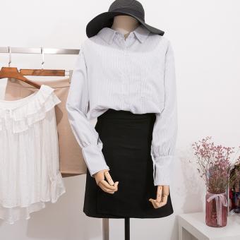 Bandingkan Toko LOOESN Korean-style female lace Cooljie striped shirt Top ( Bergaris) Harga