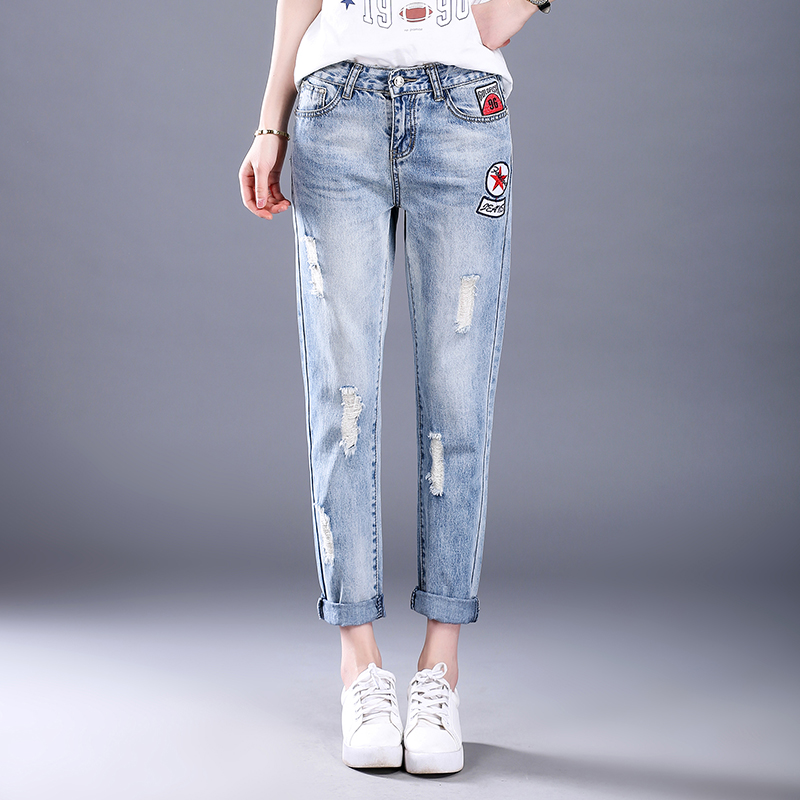 LOOESN Korean-style female New style student ankle-length pants with holes denim pants