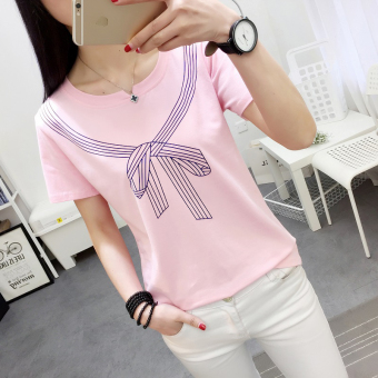 LOOESN Korean-style Female Summer New style Short sleeve Top T-shirt (556 (merah muda))