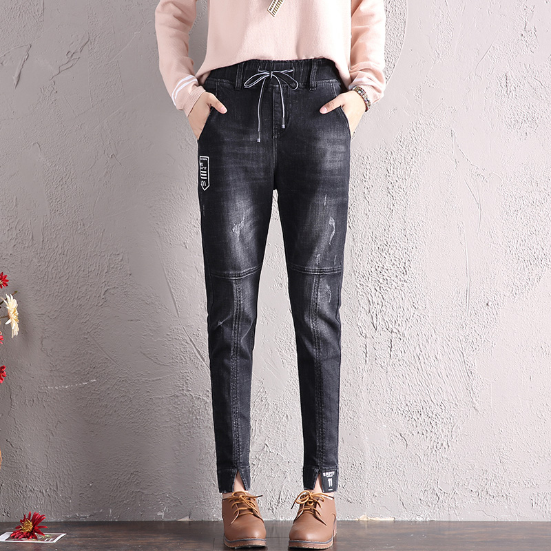 LOOESN Korean-style HarLan female New style ankle-length pants jeans (Hitam)