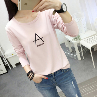 LOOESN Korean-style New style round neck lettered long-sleeved t-shirt (