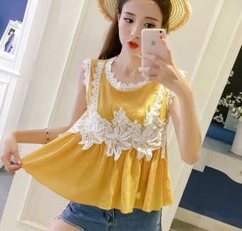 Women's stripe long sleeve T-shirt. Source. ' LOOESN Korean-style New style student lace lotus leaf edge Top (Kuning)
