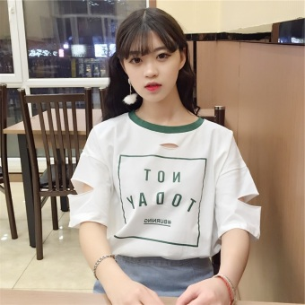 LOOESN Korean-style short sleeved t-shirt New style Female Summer (1340 (putih))