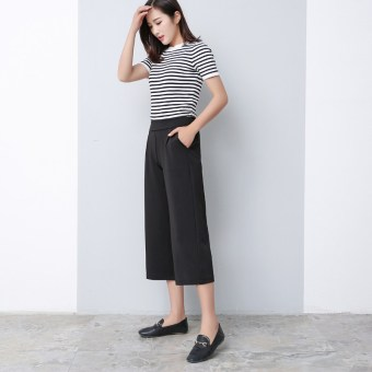 Gambar LOOESN Korean style spring New style student high waisted wide leg pants (Pantyhose celana
