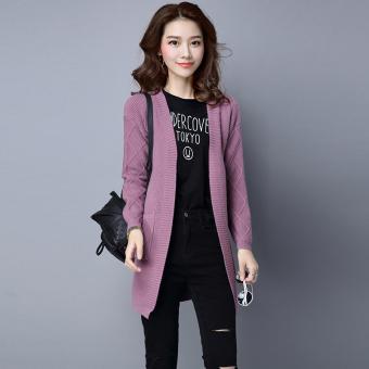 LOOESN perempuan cardigan bagian panjang tipis sweater Korea Fashion Style merajut kemeja (Ungu)