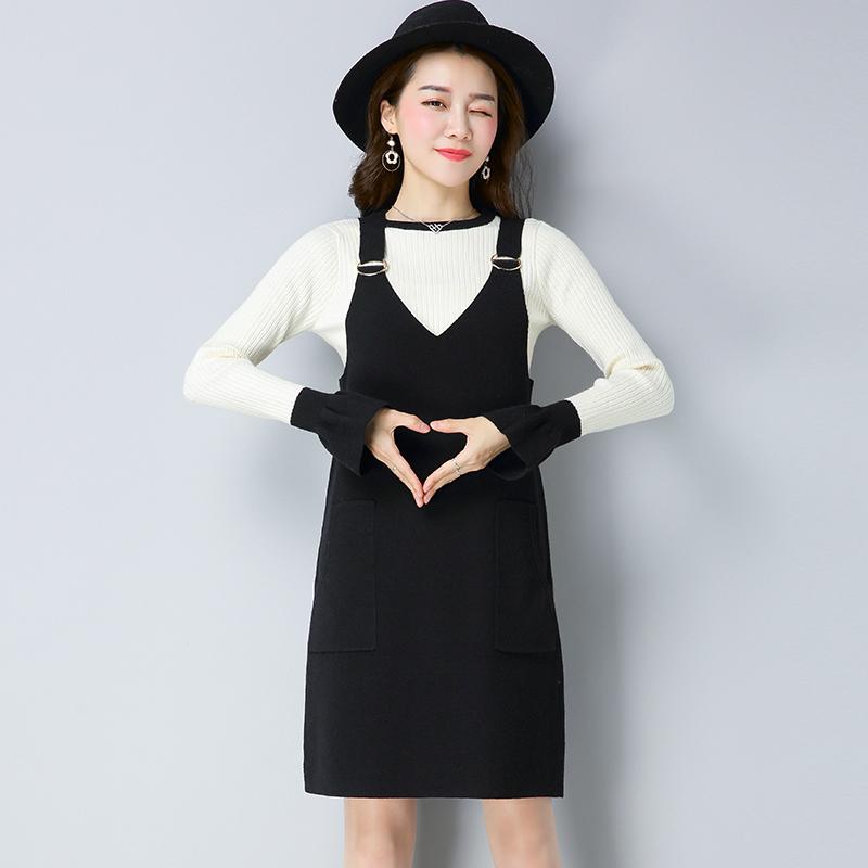 Flash Sale LOOESN perempuan lengan panjang bagian panjang bottoming kemeja rajut dress (Hitam)