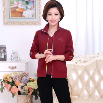 Jual LOOESN Shishang musim semi dan musim gugur baru pakaian santai setengah baya (Merah marun) Murah