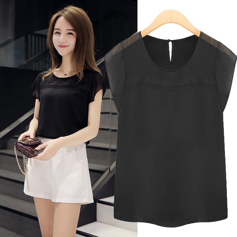 LOOESN versatile women's short sleeved New style round neck base small shirt chiffon shirt (Hitam