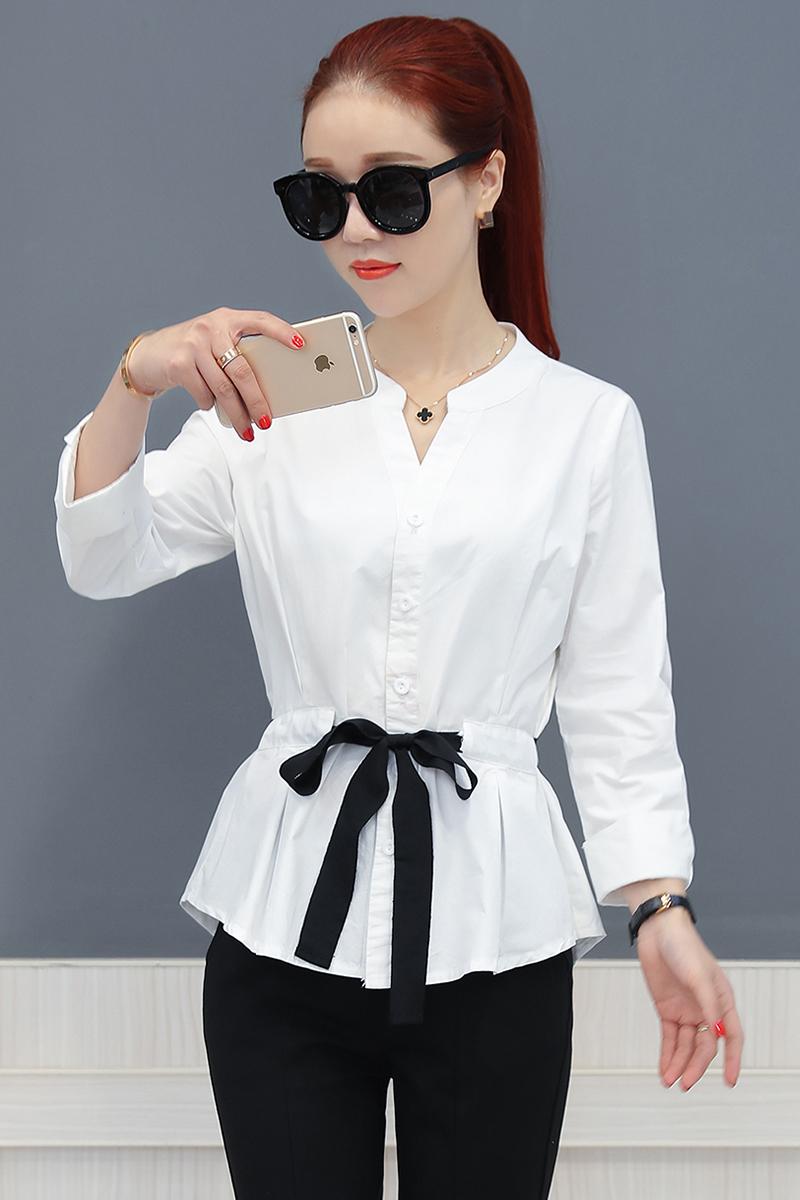 LOOESN versi Korea dari suasana baru lengan panjang kemeja wanita t-shirt (Putih)
