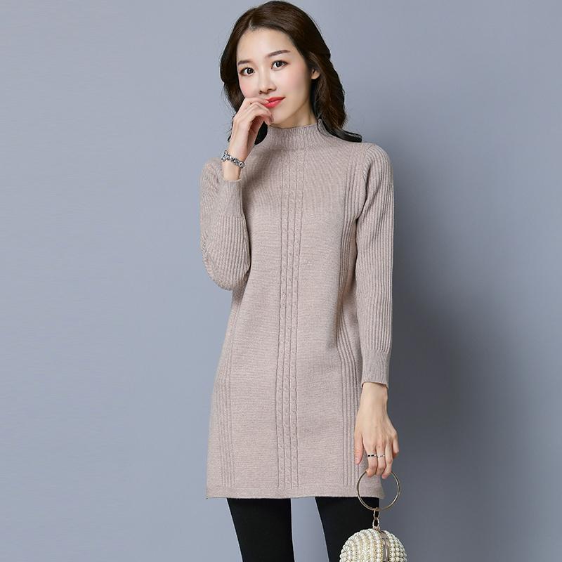 LOOESN warna solid dan setengah tinggi leher bulat pullover lengan panjang kemeja Korea Fashion Style sweater