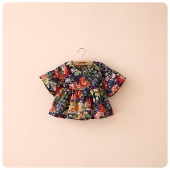 Lovely Toddler Kid Girls Blouse Floral Printed Flounced CasualSummer Ruffled Sleeve Blouses Tops - intl