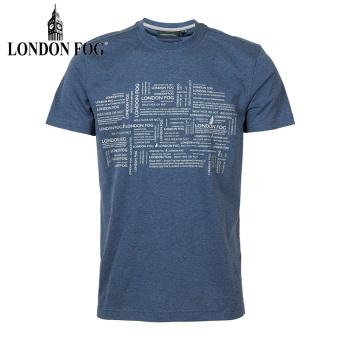 LS13KT310 London Fog asli dicetak leher bulat lengan pendek t-shirt (K8 biru tua